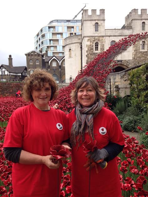 My mother in law Sally (on the left) planting poppies