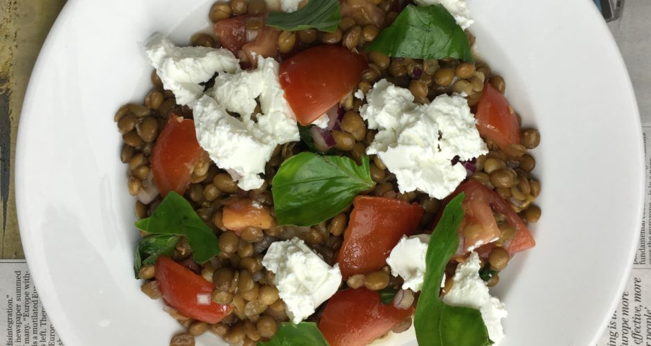 Lentil, Tomato and Goats Cheese Salad with a Sherry Vinegar Dressing